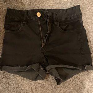 Pants - Black high rise shorts American eagle